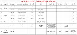 Thông báo lịch học từ 09/03 đến 15/03/2020